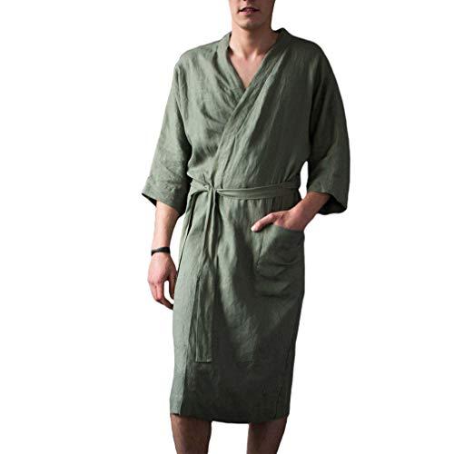 Hibote Leinen Männer Frauen Roben Kleid New Male Kimono Bademantel Nachtwäsche Nachtwäsche Pyjamas Einfarbig Plus Size Nachthemd
