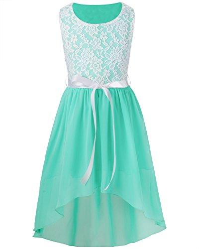 d Festlich Tüll Sommer Kleid Blumenmädchen Hochzeit Festzug Bekleidung mit Schleife 116-164 Türkis 140 ()