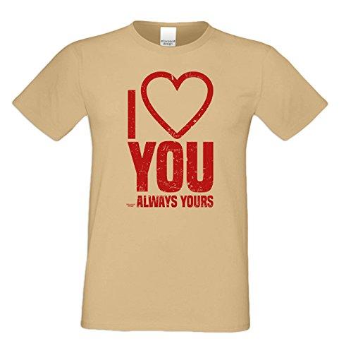 I love you : Herren T-Shirt : Geschenkidee zum Valentinstag Geburtstag Vatertag Weihnachten : Valentinstagsgechenk für Männer auch in Übergrößen Farbe: sand Sand