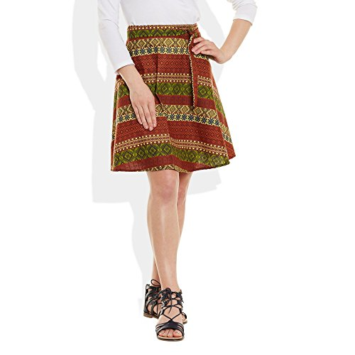 Womens Dress Cotton Printed Wrap Around Beach Sarong Skirt A Line,Large,W-CWSL-2929