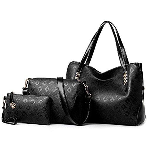 fanhappygo Fashion Retro Leder Damen Drucken Pendler Schulterbeutel Umhängetaschen Abendtaschen a set schwarz
