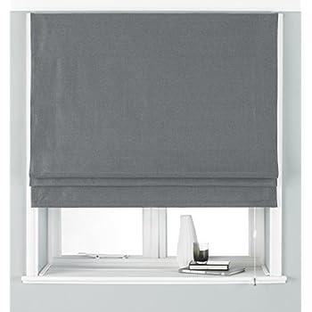 Grey Linen Blackout Lined Roman Blinds 5ft Amazon Co Uk