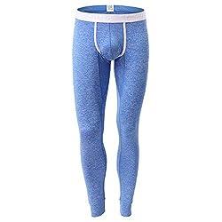 Yowablo Leggings Herren Herbst Winter Bequeme Thermo Warm Passende Unterhose Hose (XL,1Blau)