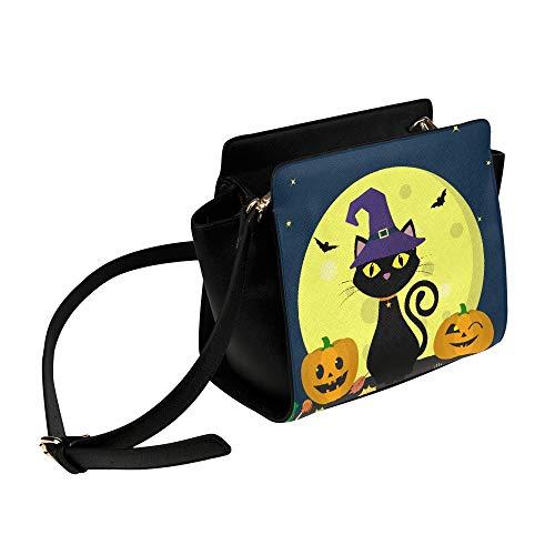 Rtosd Schwarze katze hexen für halloween umhängetasche umhängetaschen reisetaschen seesack umhängetaschen gepäck veranstalter für dame mädchen damen arbeiten einkaufen im freien (Katze Halloween-make-up Hut Im)