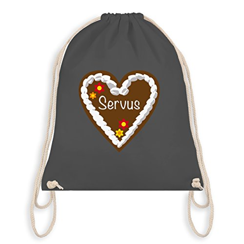 Ladies Oktoberfest - Gingerbread Heart Servus - Borsa Da Palestra I Gym Bag Grigio Scuro