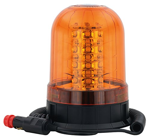AdLuminis Große LED Rundumleuchte Orange Mit Magnetfuß, Blinkleuchte 12V 24V, ECE R65 Straßenverkehr Zulassung, KFZ Warnleuchte - Beleuchtung Fuß-kerzen
