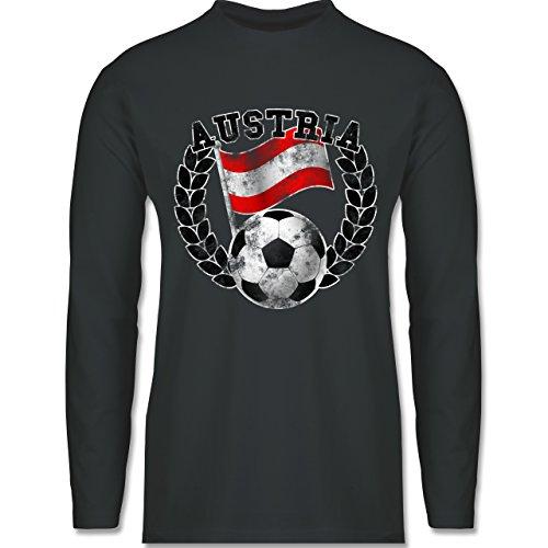 Shirtracer Fußball - Austria Flagge & Fußball Vintage - Herren Langarmshirt Dunkelgrau