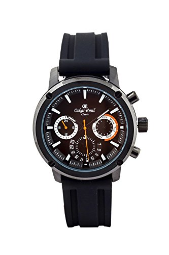 Oskar-Emil Classic Hobart Multi-Function Men's Quartz Watch with Black Dial Analogue Display and Black Silicone Strap