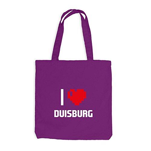 Jutebeutel - Adoro Duisburg - Germany Travel Herz Cuore Pixel Magenta