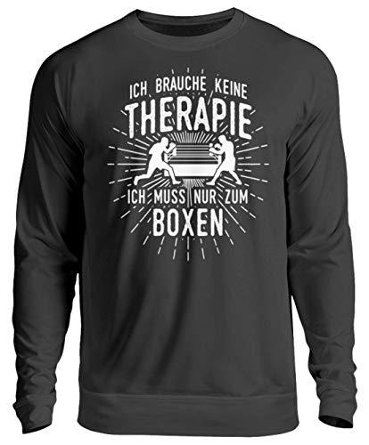 shirt-o-magic Boxer: Therapie? Lieber Boxen - Unisex Pullover -XXL-Jet Schwarz -