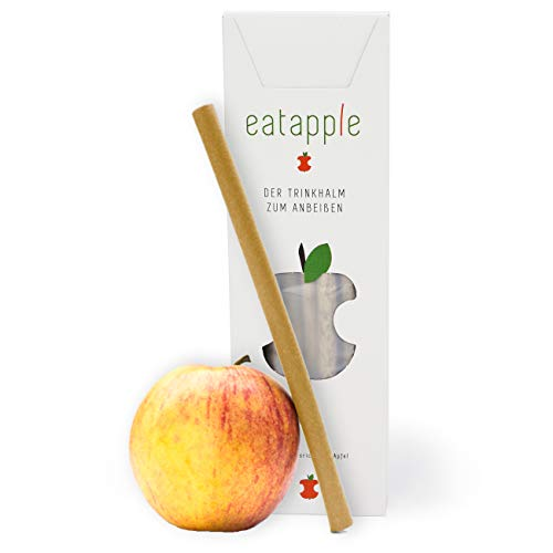 Essbarer Trinkhalm Eatapple von Wisefood + Apfelgeschmack + Nachhaltig & Lecker | 50Stk.