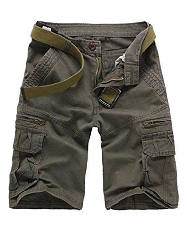 Menschwear Herren Vintage Cargo Shorts Bermuda Kurze Hose Sommer Kurze Hose (30, Grau)