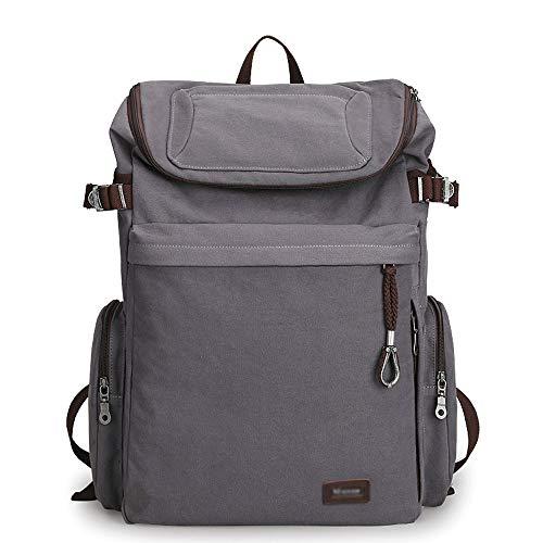 XiAnGuoJiGangWuQvChengBeiBaiHuoDian1 XUEYAQI- Bergsteigen, Canvas, Camping, wasserdicht, Outdoor-Reisetasche, Herrentasche, (grau) (Color : Gray) (Tasche Camping Canvas)