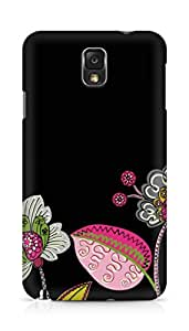 Amez designer printed 3d premium high quality back case cover forSamsung Galaxy Note 3 (black floral)