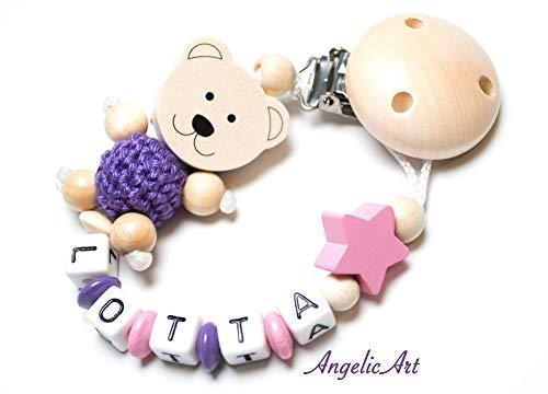 Schnullerkette mit Name für Baby, günstig, für Junge und Mädchen (Natur, 3D Teddy)