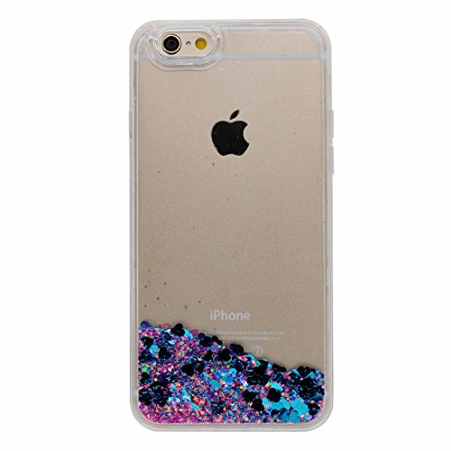 Coque Dur Flowable Transparent Liquide Eau / Coloré Coeurs / Étoiles / Sable Conception Série Clair Transparent PC Dur Housse de protection Case pour Apple iPhone 7 Plus 5.5 inch bleu