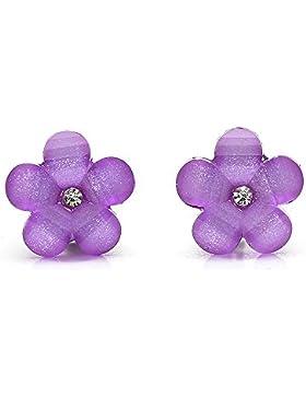Idin Ohrclips - Violette Blumen mit Strassstein und Kristalleffekt (ca. 17 x 17 mm)