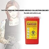 Moliies Contenitore per rifiuti di plastica Medica per Tatuaggi Biohazard Smaltimento dell'ago Scatola per rifiuti da 1L per immagazzinamento di rifiuti infetti/Rosso