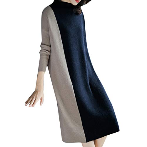 NPRADLA Dress for Women,Women Calsual Solid Long Sleeve O-Neck Solid Color Collision Mid-Calf Dress Straight Plus Size Dresses Prom Dress