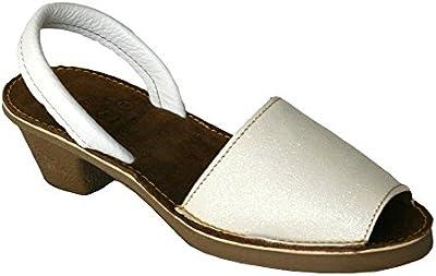 15010G - Sandalia ibicenca glitter con tacón blanco