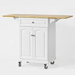 SoBuy® FKW36-WN Table roulante Meuble de rangement pour cuisine Chariot de cuisine de service, Plan de travail extensible