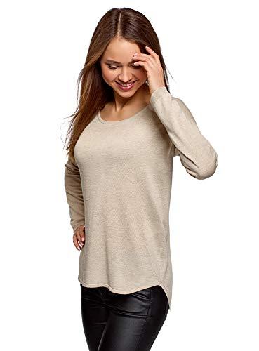 oodji Ultra Damen Lässiger Pullover mit Rundhalsausschnitt, Beige, DE 38 / EU 40 / M