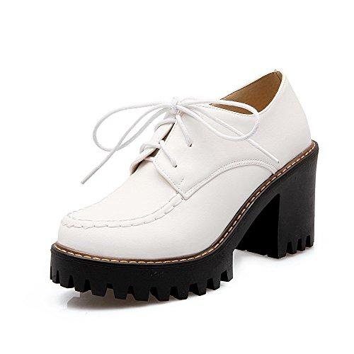 AgooLar Damen Schnüren Rund Zehe Hoher Absatz Pu Leder Rein Pumps Schuhe Weiß