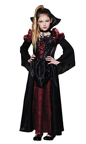 shoperama Mädchen-Kostüm Vampire Queen Kleid Kragen Kreuz Vampir-Königin Halloween Vampirin Kinder Blutsauger Vampir, Kindergröße:4-6 Jahre