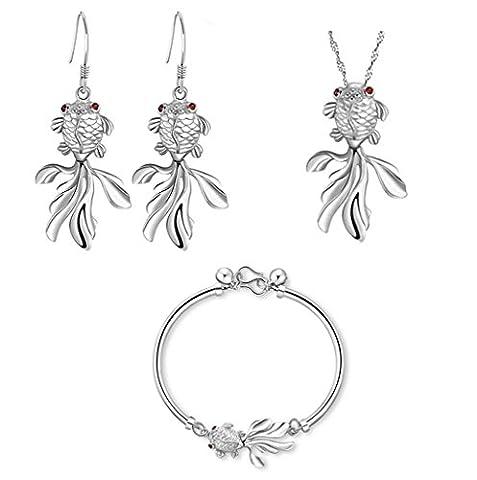 Wangjianfeng Umweltfreundliche Kupfer überzogene Platin-rote Halsketten-hängende Ohrring-Armband-Goldfisch-Satz-Schmucksachen