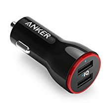 Anker 24W Dual USB Car Charger Adapter, PowerDrive 2 compatible with iPhone XS/MAX/XR/X/8/7/6/Plus, iPad Pro/Air 2/Mini, Note 5/4, LG, Nexus, HTC, and More - Black