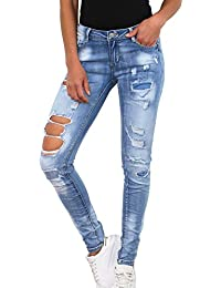 054b65a094312b Simply Chic Damen Jeans Stretch Hose Destroyed Skinny Röhrenjeans D2342