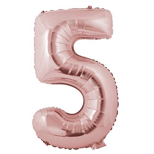 Miss Bakery's House® Ballon Folie Helium Zahl - (5, Roségold, XXL) - als Dekoration für Geburtstag, Jubiläum, Hochzeit (Für Dekorationen Jubiläum)