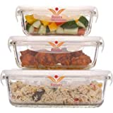 Femora Borosilicate Rectangular Glass Food Storage Container With Air Vent Lid-Set Of 3 Pcs - (400ml, 620 ml, 1000 ml)