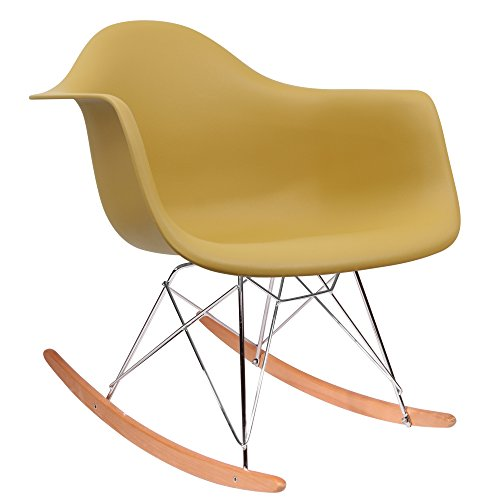 HNNHOME Esstischstühle Eames Inspiriert RAR Lounge Retro Rocker  Schaukelstuhl Freizeit Sessel Panton (Senf)