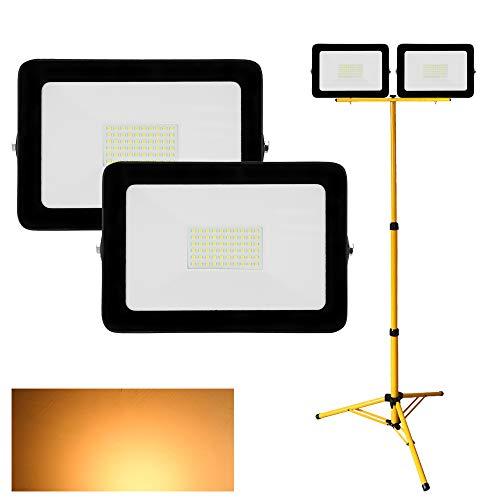 Hengda 2X 50W LED Fluter Flutlicht 3000K Warmweiß + Stativ, 4000LM, Wasserdicht IP65, Außenwandleuchte Außenleuchten Flutlicht Flutlichtstrahler Strahler Scheinwerfer