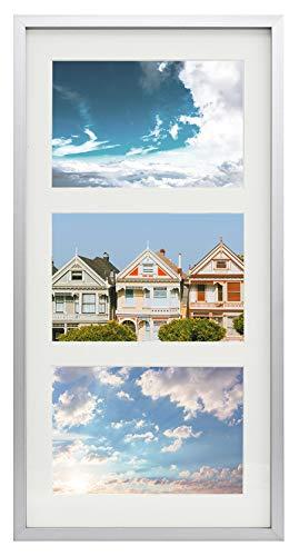 Frametory Metallrahmen für 3 Bilder à 10 x 15 cm, Aluminium, mit 3 Öffnungen, elfenbeinfarben, matt, Wandmontage, stabil, Echtglas-Frontscheibe 7x14 Silber (Bild-frame-hund Vertikale)