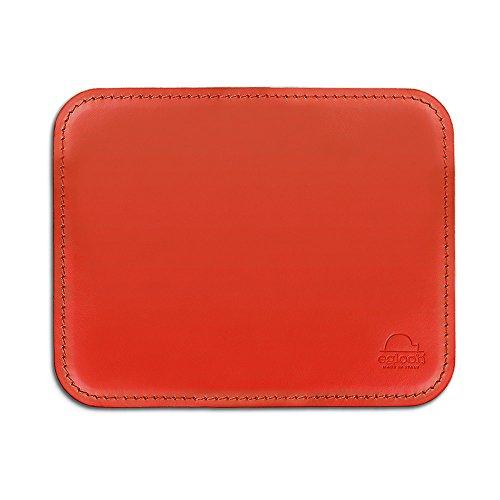 Eglooh - Hermes - Schreibtischmousepad aus Leder mit abgerundeten Ecken - Ferrari Rot - cm 25x20 - In Italien hergestellt -