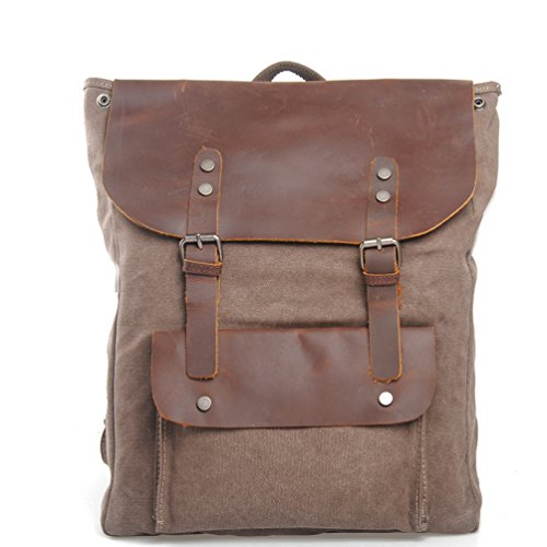 simplebase Unisex in Pelle con tela zaino Vintage Casual zaino borsa da palestra verde 6819green Standard 2166coffee