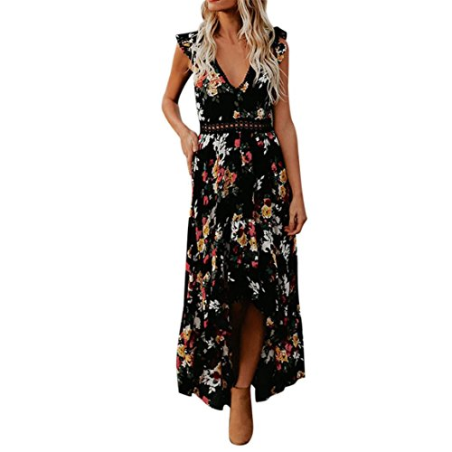 Moonuy Frauen Backless Sommerkleid Vintage Floral Flower Tiefem V-Ausschnitt Knöchellangen Asymmetrical Lace Elegant Slim Dress (EU 40/Asien XL, Schwarz)