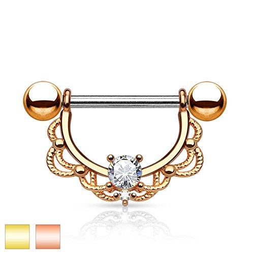 Paula & FRITZ® Piercing Téton en acier inoxydable acier chirurgical 316L Plaqué Or, or rose arc filigrane [Épaisseur: 1,2mm-1.6mm] avec Zirconium