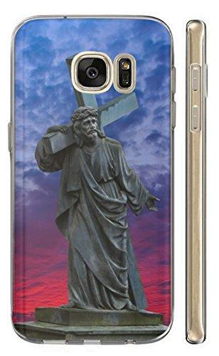 KunaMobile Hülle für Samsung Galaxy A7 2018 TPU Handyhülle Samsung A7 2018 Silikon Hülle Softcase Cover Schutzhülle Motiv (587 Jesus mit Kreuz aus Stein Grau Blau)