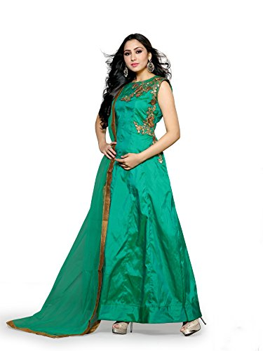 Urban Naari Green Colored Pure Tafeta two tone silk Embroidered Sem-Stitched Salwar Suit
