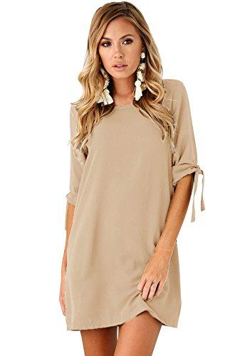 Yidarton Womens Short Sleeve Chiffon Dresses Loose Casual Summer Round Neck Tunic Blouse Mini Dress