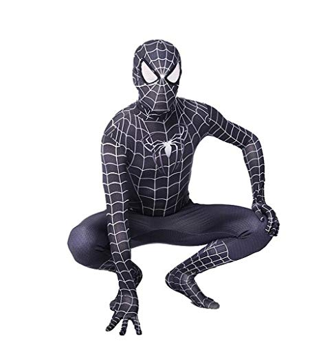 TOYSSKYR Iron Spiderman Cosplay Elastisches Enges Kleid Erwachsenes Kind Halloween Movie Stage Performance Requisiten (Farbe : Schwarz, größe : 140cm)