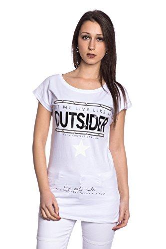 Abbino J106 Magliette Tops Ragazze Donne – Made in Italy – 2 Colori – Mezza Stagione Primavera Estate Autunno Classiche T-Shirts Shirts Casual Saldi Tempo Libero