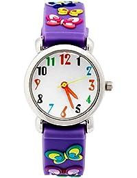 Niños analógicas relojes para niñas niños, niños deportes reloj con 3d Cute dibujos animados correa de silicona, 3 bares impermeable para reloj en tiempo profesor regalos
