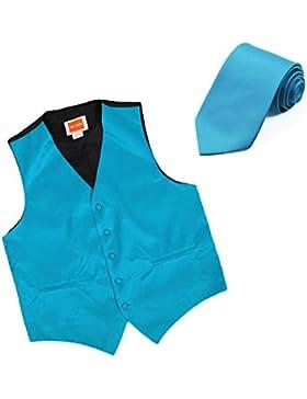 DGDE0021-XL Dodger Azul sólido microfibra Vestido de noche Chalecos Satín Chaleco corbata a juego Por Dan Smith