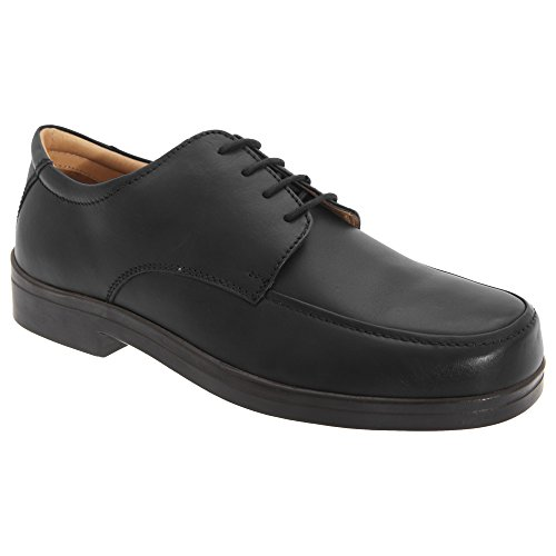 Roamers - Zapatos con Cordones para pies Anchos Hombre Caballero (48 EUR/Negro)