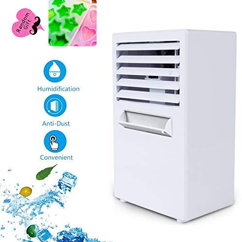 L@ily Luftkühler, 3-in-1 Mini Air Conditioner Luftbefeuchter Luftreiniger, 3 Lüftergeschwindigkeiten USB Desktop Air Condition Kühler Klimaanlage für das Home Office im Freien,White