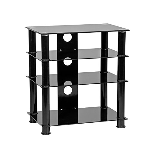 Mmt Furniture Designs Hi-Fi-Standregal, 4 Ablagen, 650 mm hoch, Schwarz